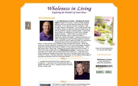 Screenshot of Testimonials Page wholenessinliving.com - Testimonials » Wholeness in Living – English - captured Nov. 5, 2014
