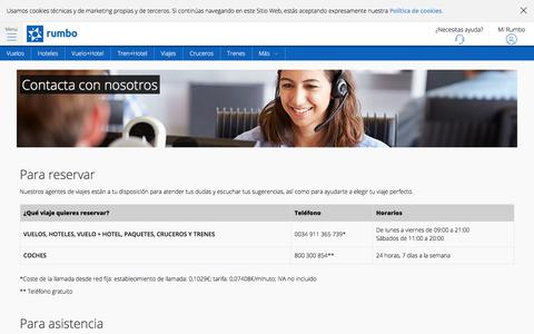 Screenshot of Contact Page rumbo.es - Contacta con nosotros - Rumbo.es - captured Sept. 21, 2018