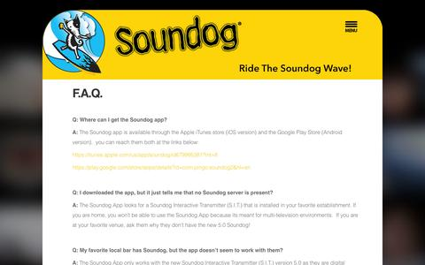 Screenshot of FAQ Page mysoundog.com - F.A.Q. - captured Oct. 7, 2014