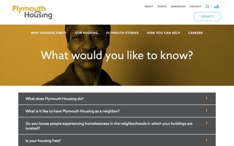 Screenshot of FAQ Page plymouthhousing.org - FAQ - Plymouth Housing - captured Sept. 28, 2018