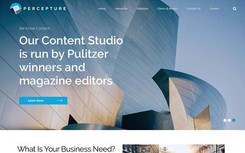 Screenshot of Home Page percepture.com - Manhattan NY PR Firms, Marketing Public Relations Agencies - captured Aug. 1, 2019