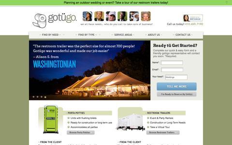 Screenshot of Home Page gotugo.com - Porta Potty Rentals in MD, VA & DC | Portable Restroom | gotügo - captured July 25, 2018