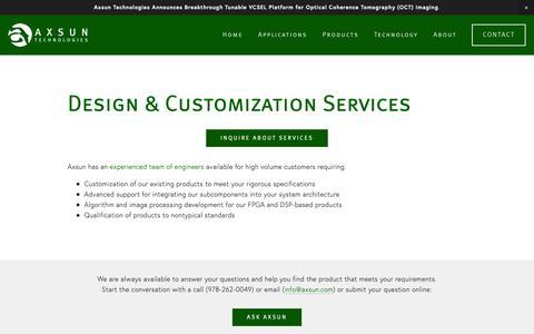 Screenshot of Services Page axsun.com - Services — Axsun Technologies - captured Nov. 3, 2018