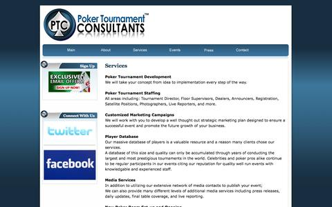 Screenshot of Services Page pokertournamentconsultants.com - Poker Tournament Consultants - marketing, management, staffing, experience, results - captured Sept. 30, 2014