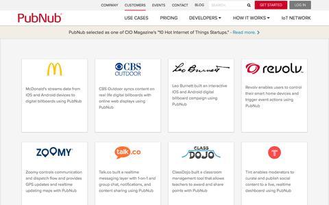 Screenshot of Case Studies Page pubnub.com - Realtime App Customer Case Studies | PubNub - captured Sept. 12, 2014