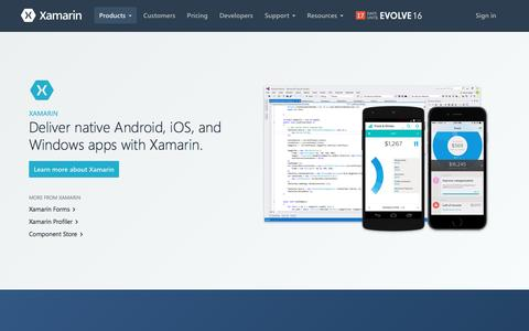 Screenshot of Products Page xamarin.com - Xamarin products, including Xamarin Studio, Visual Studio, Test Cloud and more - Xamarin - captured April 7, 2016