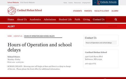 Screenshot of Hours Page cardinalshehanschool.org - Hours of Operation and school delays | Cardinal Shehan School - captured July 3, 2018