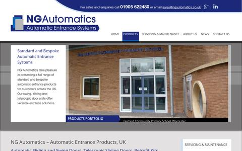 Screenshot of Products Page ngautomatics.co.uk - Supplier and Fitter of Standard and Bespoke Automatic Entrance Systems, UK - captured Oct. 7, 2014