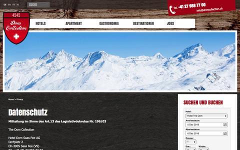 Screenshot of Privacy Page domcollection.ch - Familienurlaub und vieles mehr in der Schweiz - captured Dec. 5, 2016
