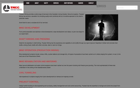 Screenshot of Services Page thyssenmining.com - Services - Thyssen Mining - captured Jan. 12, 2016
