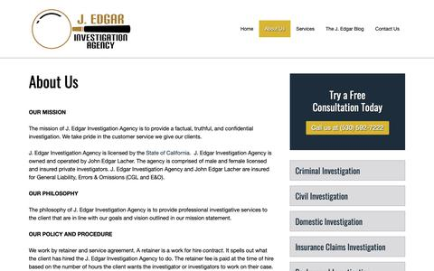 Screenshot of About Page jedgarpi.com - About Us - J. Edgar Investigation Agency - captured Oct. 1, 2018