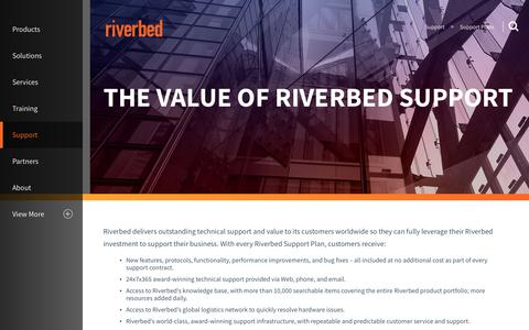 Screenshot of Support Page riverbed.com - Support Plans | Riverbed | ID - captured March 1, 2018