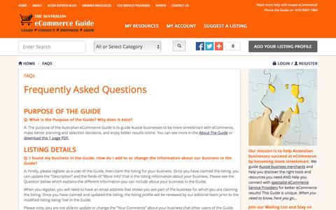 Screenshot of FAQ Page ecomguide.com.au - FAQs | Australian eCommerce Guide - captured Sept. 19, 2014