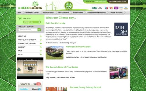 Screenshot of Testimonials Page greenbuying.co.uk - What our Clients say... - captured Nov. 15, 2016