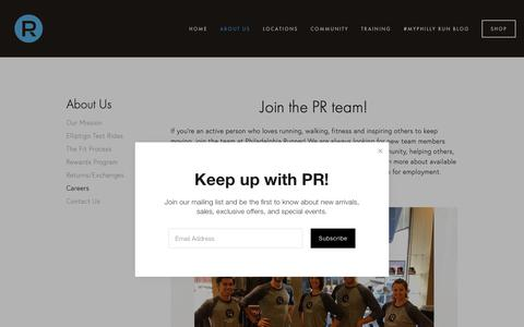 Screenshot of Jobs Page philadelphiarunner.com - Careers — Philadelphia Runner - captured Nov. 27, 2018