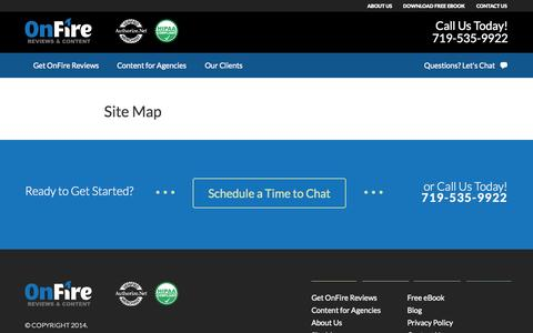 Screenshot of Site Map Page onfirereviews.com - Site Map - OnFire Content - captured Oct. 29, 2014