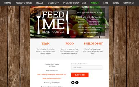 Screenshot of About Page feedmerealfood.co - about — Feed Me - Real Food Co. - captured Oct. 5, 2014