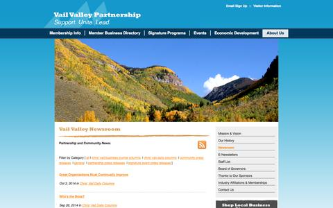 Screenshot of Press Page vailvalleypartnership.com - Vail Valley News & Updates - captured Oct. 7, 2014