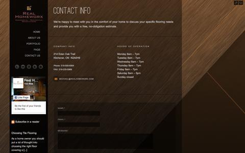 Screenshot of Contact Page realhomeworx.com - Contact Us - captured Sept. 21, 2018