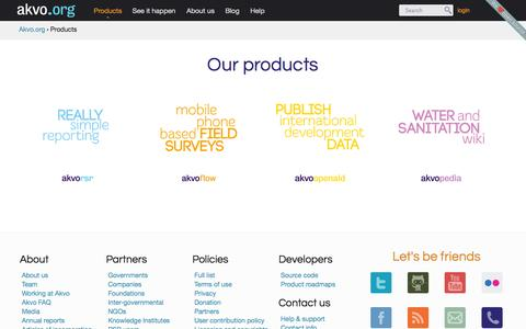 Screenshot of Products Page akvo.org - Products   Akvo.org - captured Sept. 13, 2014