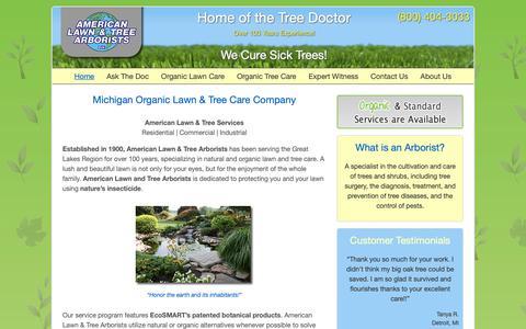 Screenshot of Home Page theamericanlawnandtreearborist.com - American Lawn & Tree Arborists - Michigan Organic Lawn and Tree Care Company in Troy, MI - captured Nov. 12, 2018