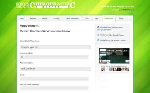 Screenshot of Contact Page Hours Page 733back.com - Appointment - Simcoe County Chiropractic Clinic - captured March 27, 2016