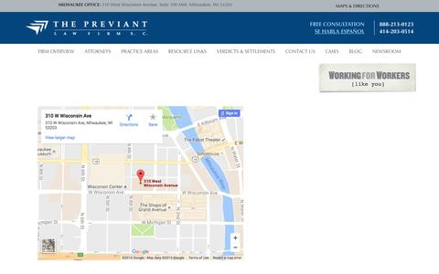 Screenshot of Maps & Directions Page previant.com - Maps & Directions | Previant Law Firm | The Previant Law Firm, S.C. - captured Dec. 1, 2016