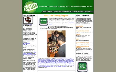 Screenshot of Home Page fingerlakesreuse.org - Finger Lakes ReUse, Ithaca, New York - captured Oct. 6, 2014