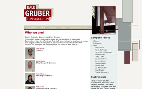 Screenshot of Team Page dalegruberconstruction.com - Central Minnesota General Contractors, Dale Gruber Construction - Our Team - captured Sept. 30, 2014