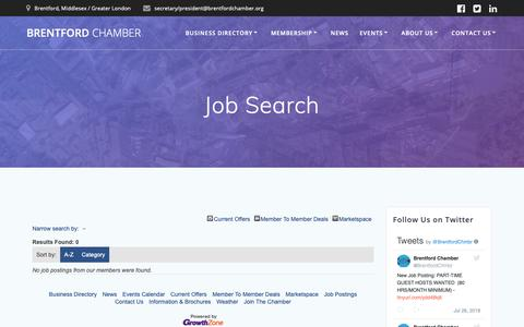 Screenshot of Jobs Page brentfordchamber.org - Job Search - captured Oct. 6, 2018