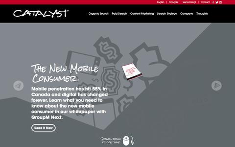 Screenshot of Home Page catalyst.ca - Catalyst Canada | SEO & PPC Services - captured Oct. 1, 2014