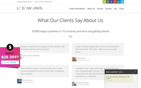 Screenshot of Testimonials Page logoworks.com - Testimonials - Logoworks   Professional Logo Design, Website Design, and much, much more - captured Dec. 16, 2017