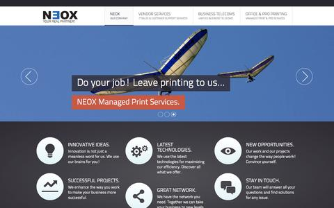 Screenshot of Home Page neox.gr - Neox - IT sales and customer support services - captured Oct. 7, 2014