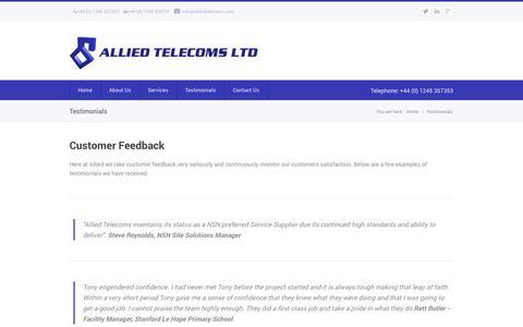 Screenshot of Testimonials Page alliedtelecoms.com - Allied Telecoms Ltd - captured Sept. 30, 2014
