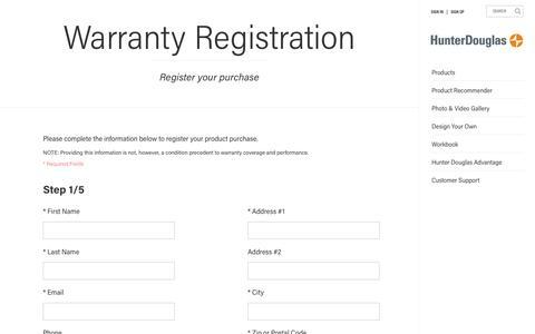 Warranty Registration | Hunter Douglas