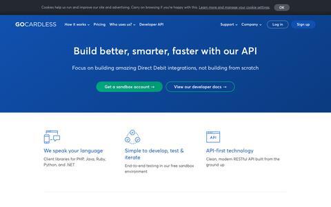 Screenshot of Developers Page gocardless.com - GoCardless for developers - GoCardless - captured Aug. 11, 2018