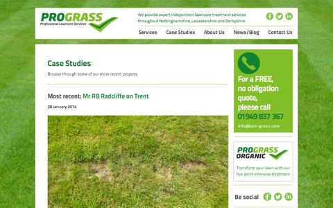 Screenshot of Case Studies Page pro-grass.com - Case Studies «  ProGrass - captured Oct. 3, 2014