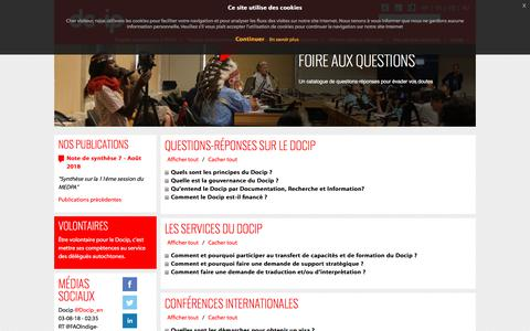 Screenshot of FAQ Page docip.org - faq - DOCIP - captured Aug. 9, 2018