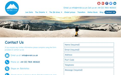 Screenshot of Contact Page mrski.co.uk - Contact Us - Mr Ski Catered Ski Chalets in Les Gets - captured Nov. 18, 2018