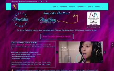 Screenshot of Home Page alexysparisproductions.com - Singing Lessons-Voice Lessons-Learn To Sing SLS-Oakland Ca - captured March 31, 2016