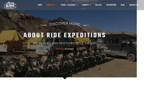Screenshot of About Page rideexpeditions.com - About Us - World Class Motorcycle Tours - Ride Expeditions - captured Nov. 19, 2018