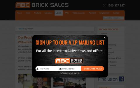 Screenshot of About Page Team Page abcbricksales.com.au - ABC Brick Sales Team, experts on all things Bricks, Blocks and Pavers - captured Nov. 12, 2018