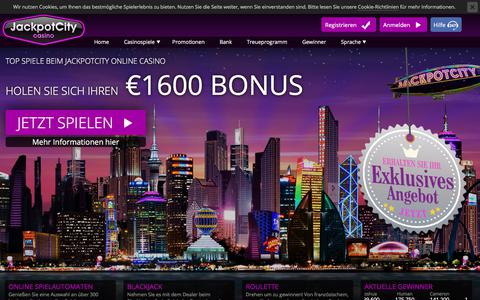 Screenshot of About Page Contact Page Press Page FAQ Page Site Map Page jackpotcitycasino.com - Online Casino - €1600 GRATIS für Ihre Online Casino-Spiele! - captured July 11, 2018