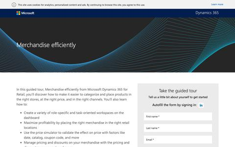 Screenshot of Landing Page microsoft.com - Merchandise efficiently guided tour |Microsoft Dynamics 365 - captured Oct. 30, 2018