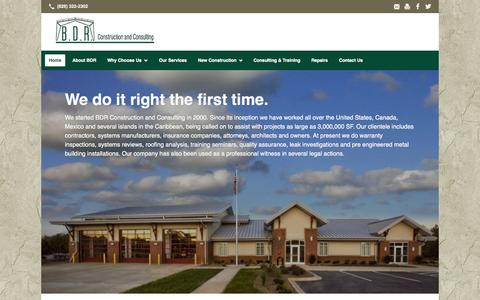 Screenshot of Home Page bdr-construction.com - BDR Construction: Hickory, NC: General Contractor, Metal Roofing Repair & More - captured Oct. 4, 2014