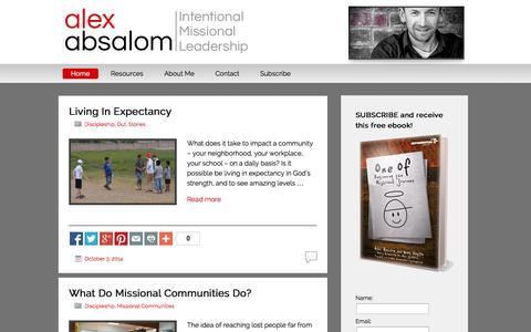 Screenshot of Home Page alexabsalom.com - Alex Absalom | Intentional Missional Leadership - captured Oct. 6, 2014