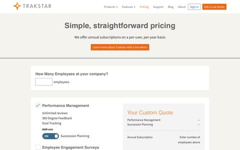Screenshot of Pricing Page trakstar.com - Pricing - Trakstar - captured Oct. 29, 2018