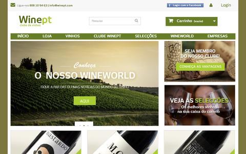 Screenshot of Home Page winept.com - Comprar os Melhores Vinhos Online é na nossa Loja - WinePT - captured Jan. 23, 2015