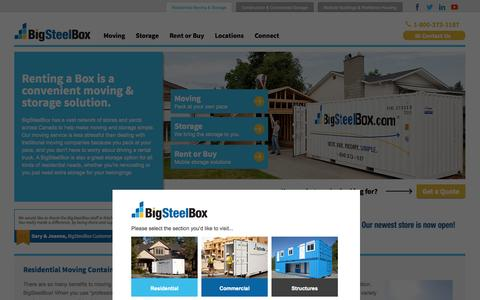 Screenshot of Home Page bigsteelbox.com - Moving & Storage | BigSteelBox | Rent or Buy Containers - captured Sept. 30, 2014