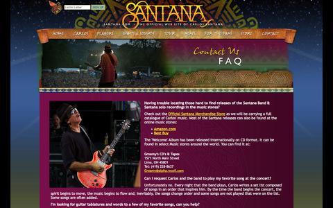 Screenshot of FAQ Page santana.com - SANTANA - The Official Carlos Santana Web Site - captured Jan. 31, 2016